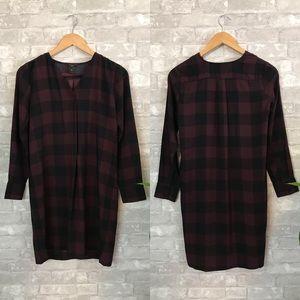Ann Taylor maroon plaid shirt dress